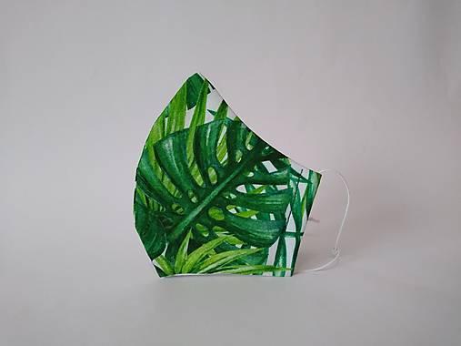 Dizajnové ľanové rúško tropické listy
