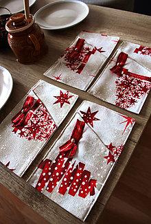 Úžitkový textil - Sada vianočných príborníkov - obal na príbor - 12578567_