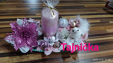 Svietidlá a sviečky - Ružový vianočný svietnik - 12580697_