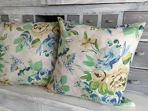 Úžitkový textil - Vankúš modrá pivonka - 12577515_