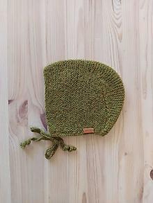 Detské čiapky - Detský čepček alpaka zelený - 12582344_