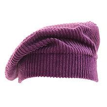 Čiapky, čelenky, klobúky - Francúzska baretka - fialová - 12576686_