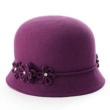 Čiapky, čelenky, klobúky - Klobúk Daisy - fialový - 12576965_