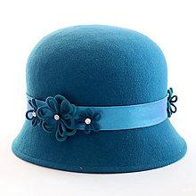 Čiapky, čelenky, klobúky - Klobúk Daisy - modrý - 12576975_