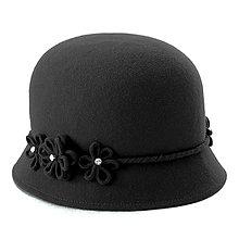 Čiapky, čelenky, klobúky - Klobúk Daisy - čierny - 12576987_