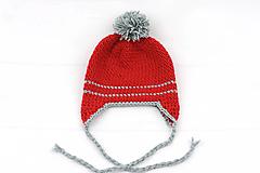Červeno-šedá ušianka EXTRA FINE