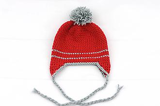 Detské čiapky - Červeno-šedá ušianka EXTRA FINE - 12580000_