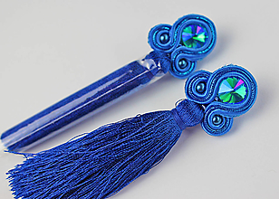 Náušnice - TASSY - modré strapcové náušnice - 12579510_