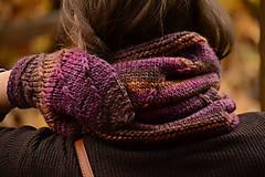 Rukavice - Dámske rukavice CATHY, hnedo-fialové, 100% merino - 12580847_