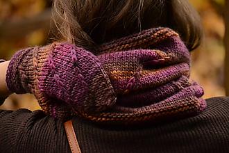 Rukavice - Set dámske rukavice a nákrčník CATHY, hnedo-fialový, 100% merino - 12579863_