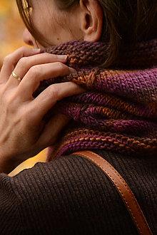 Šály - Dámsky nákrčník CATHY, hnedo-fialový, 100% merino - 12579908_