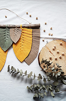 Dekorácie - Makramé Listy Dekorácia (Žltá) - 12578073_