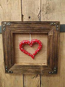 Obrazy - Obraz s rámom zo starého drevo- srdce zo slaného cesta - 12578522_