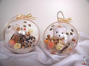 Dekorácie - Veľké vianočné gule v prírodných farbách so zlatou - 2ks - 12578093_