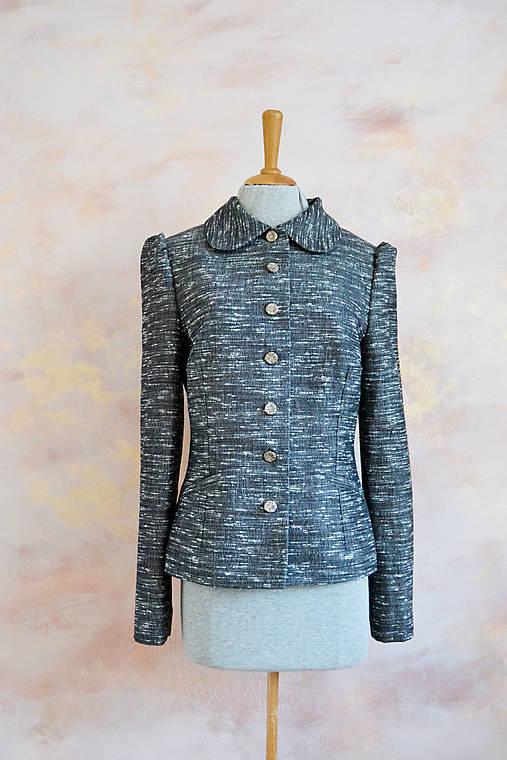 Sivé melírované upcyklované sako s vintage gombíkmi