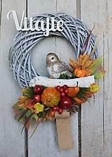 Dekorácie - Jesenný veniec s vtáčikom - 12585873_