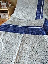 Úžitkový textil - Posteľné obliečky modré kvietky - 12587681_