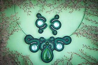 Sady šperkov - GREEN - šujtášový set - 12587418_