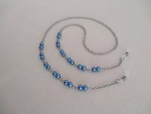 Iné šperky - Retiazka na okuliare - modré perly - chirurgická oceľ - 12584379_