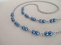 Iné šperky - Retiazka na okuliare - modré perly - chirurgická oceľ - 12584386_