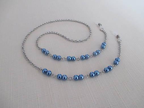 Retiazka na okuliare - modré perly - chirurgická oceľ