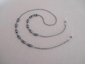 Iné šperky - Retiazka na okuliare - sivé perly - chirurgická oceľ - 12584295_