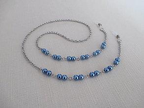 Iné šperky - Retiazka na okuliare - modré perly - chirurgická oceľ - 12584375_