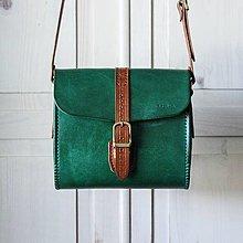 Kabelky - Kožená kabelka Emerald Green messenger - 12584935_