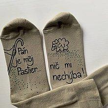 """Obuv - Motivačné maľované ponožky s nápisom: """"Pán je môj pastier!"""" (Béžové) - 12585436_"""