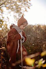 Iné oblečenie - Detský vlnený overal ŠKORICOVÝ - 12582829_
