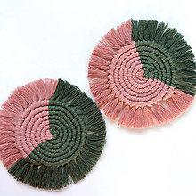 Úžitkový textil - Makramé podšálka DUO AVOCADO-BLUSH - 12585744_
