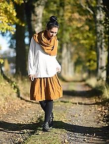 Sukne - Lněná sukně - okrová - 12587870_