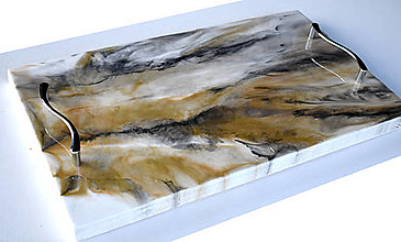 Nádoby - Podnos epoxy mramor - 12588753_