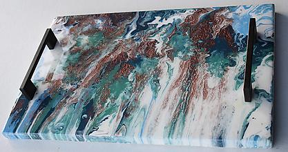 Nádoby - Podnos epoxy mramor 2 - 12588778_