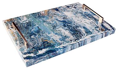 Nádoby - Podnos epoxy mramor 3 - 12588786_