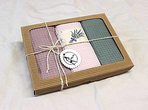 Úžitkový textil - Darčekový set utierok vafle Levanduľa - 12593982_