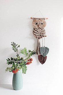 """Dekorácie - veľká piesková sova """"okaňa"""" (piesková-starozelená, tmavá hnedá) - 12591030_"""