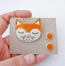 Sady šperkov - keramický farebný set brošňa a náušnice (ryšavá mačka) - 12591231_