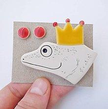Sady šperkov - keramický farebný set brošňa a náušnice (princ žabiak) - 12591234_