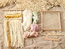 Dekorácie - Sada na tkanie tapisérie (aqua/ružová/biela) - 12589196_