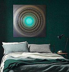 Obrazy - NEKONEČNÁ LÁSKA A ŠŤASTIE ♥ (smaragd-gold) 80 x 80 - 12593050_