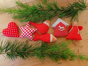 Dekorácie - Vianočné ozdoby, základná sada RED - 12589895_