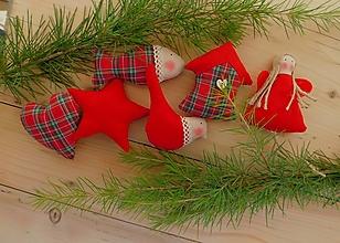 Dekorácie - Vianočné ozdoby, základná sada Scottish Kilt - 12591194_