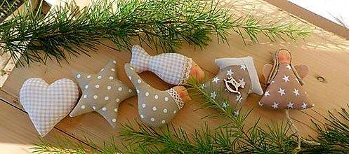 Dekorácie - Vianočné ozdoby, základná sada Natural, 6 ks v sade - 12591210_