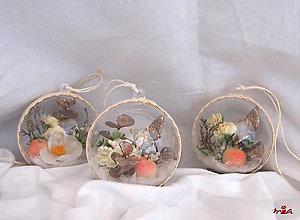 Dekorácie - Súprava vianočných ozdôb s kvetmi - biela + vanilka + champagne - 12590102_