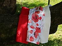 Úžitkový textil - Ľanové utierky - maky (Set maky+červená+béžová) - 12595950_