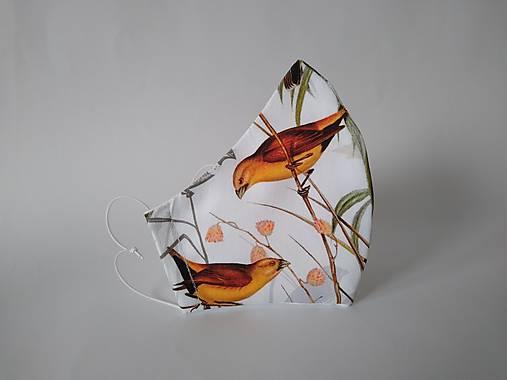 Dizajnové rúško vtáky prémiové tvarované dvojvrstvové