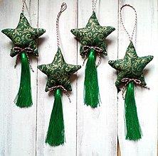 Dekorácie - Vianočné ozdoby - Hviezdičky so strapcom - 12595351_