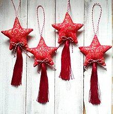 Dekorácie - Vianočné ozdoby - Hviezdičky so strapcom - 12595440_