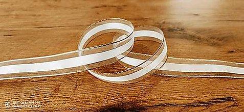 Galantéria - Ozdobná stuha 25 mm s drôtom - Bielo zlatá - 12598821_
